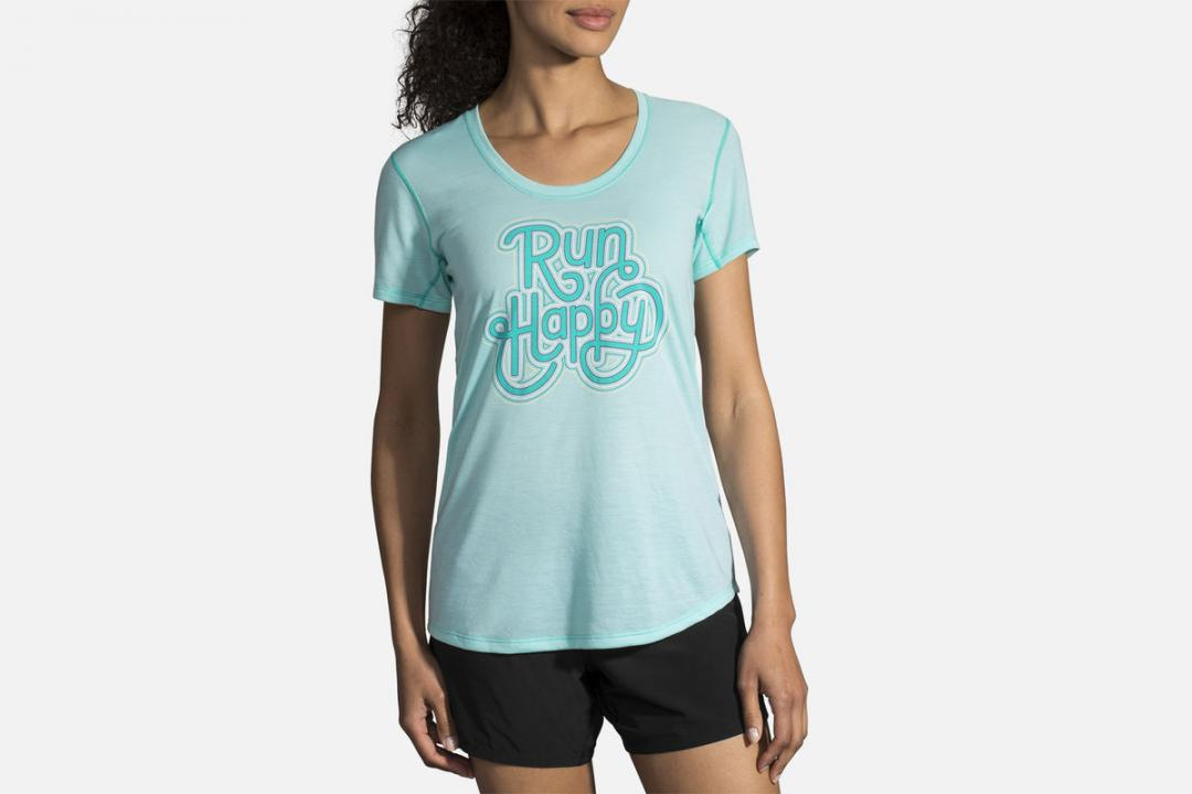 Lauftops | Damen Brooks Distance Graphic Tee Bleu