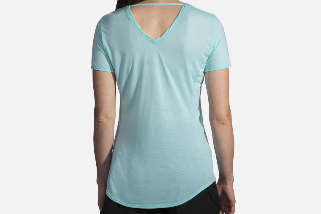 Lauftops | Damen Brooks Distance Short Sleeve Bleu