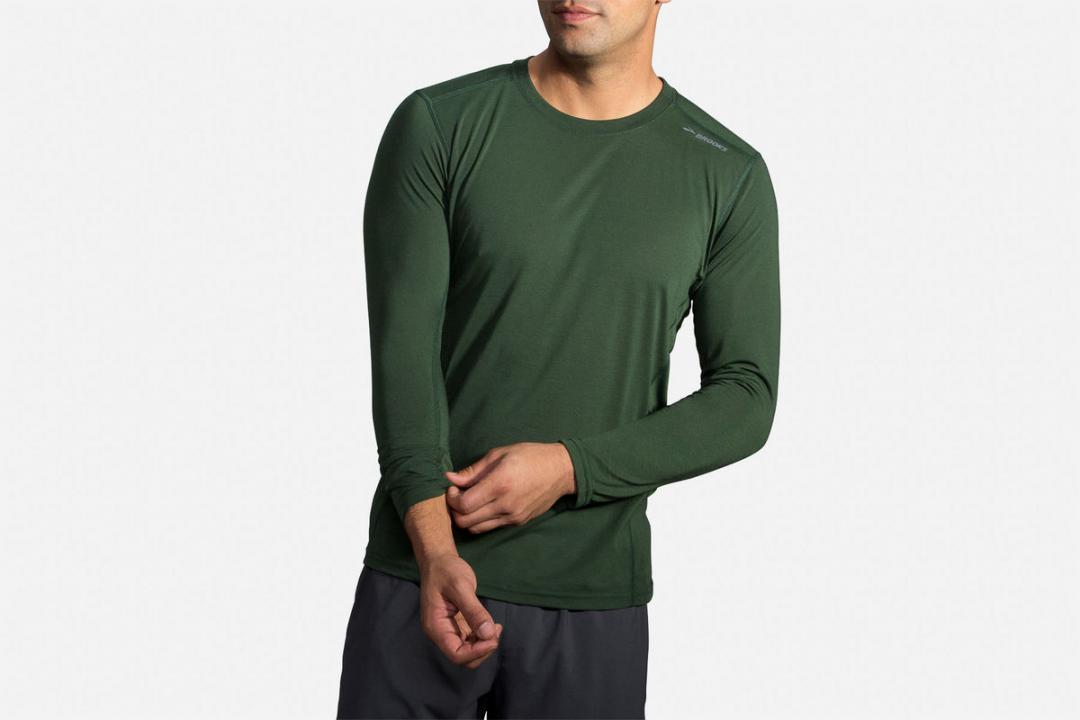 Lauftops | Herren Brooks Distance Long Sleeve Running Shirt Vert
