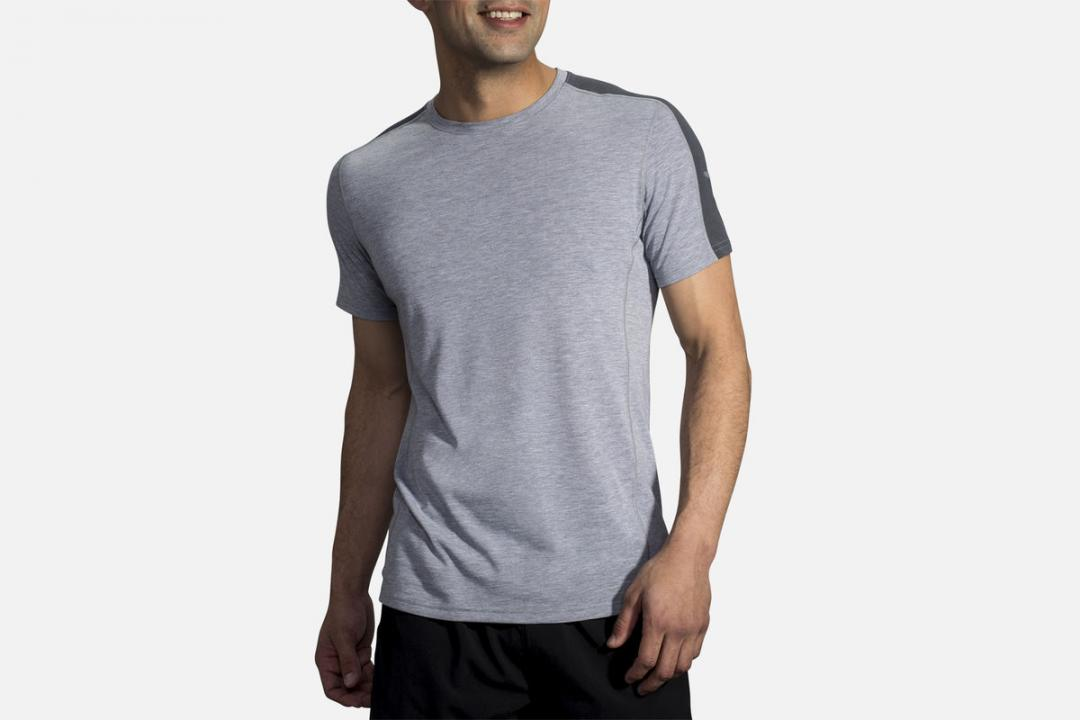 Lauftops | Herren Brooks Distance Short Sleeve Gris