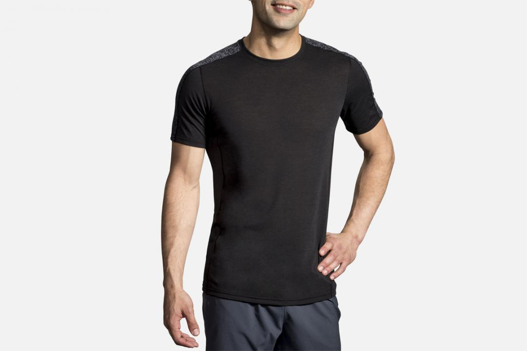 Lauftops | Herren Brooks Distance Short Sleeve Noir